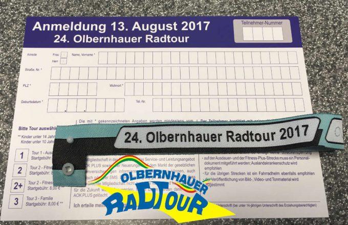 Startkarte und Teilnehmerband 24. Olbernhauer Radtour