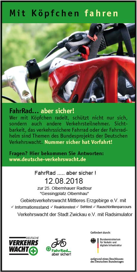 """""""FahrRad...aber sicher!""""-Verkehrssicherheitstag am 12. August 2018 in Olbernhau zur 25. Olbernhauer Radtour"""