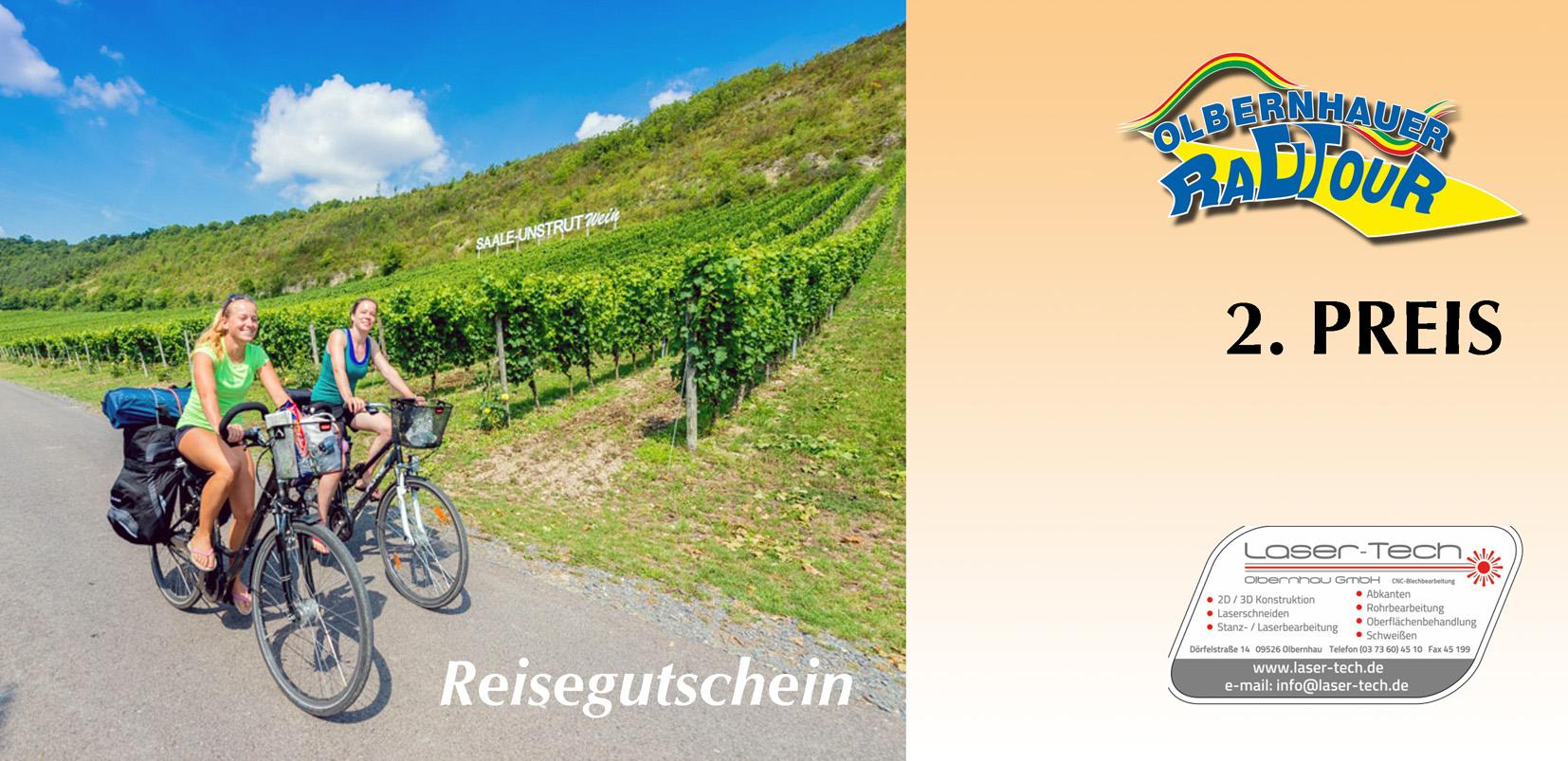 2. Tombolarpreis: Reisegutschein für eine Radreise für 2 Personen mit 2 Übernachtungen nach Naumburg (Saale / Unstrut) (gestiftet durch Lasertec Olbernhau GmbH)
