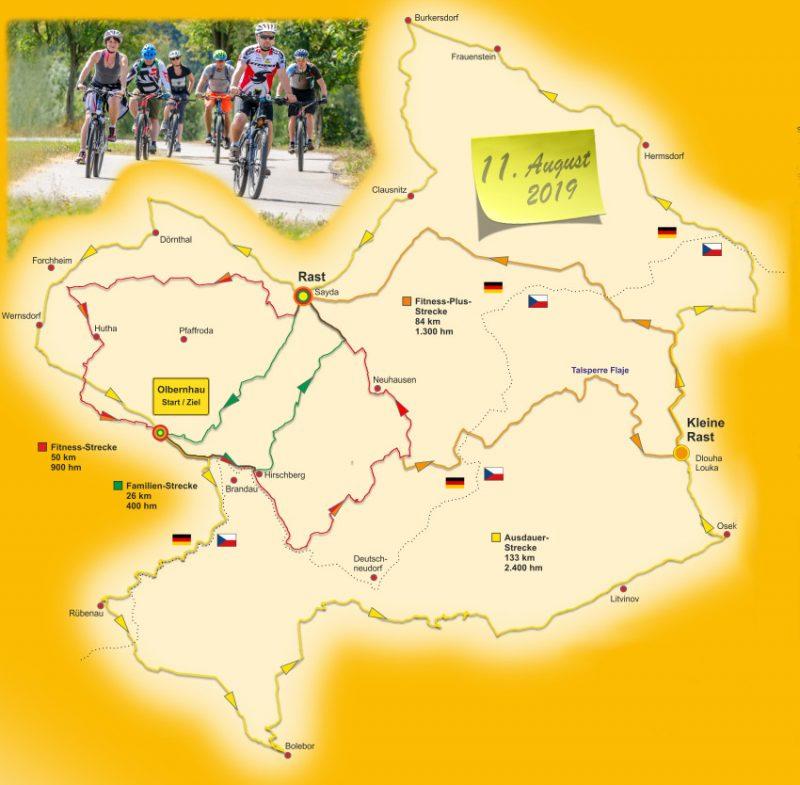 26. Olbernhauer Radtour Streckenübersicht